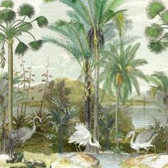 Shadow Palms • Tropical Palm Tree Mural • Milton & King USA Bird Wallpaper, Summer Garden, Palms, Kerala, Palm Trees, All The Colors, Orchids, Tropical, Palmas