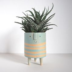 Image of Medium //turquoise// striped tripod planter
