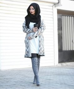 How to wear over the knee boots with hijab-Best hijab colours to wear with denim – Just Trendy Girls