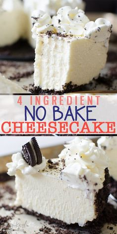 Cheesecake is an easy recipe with a 4 ingredient filling! Easily adaptable, use Oreos, graham crackers or Nutter Butters for the crust! This No Bake Cheesecake is SLICEABLE, fast and fool proof! You'll never want Cheesecake any other way! No Bake Cheesecake Filling, Baked Cheesecake Recipe, Homemade Cheesecake, No Bake Vanilla Cheesecake, Keto No Bake Cheesecake, Cheesecake Bites, Fast And Easy Cheesecake Recipe, No Bake Cheescake, Woolworth Cheesecake Recipe