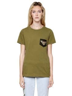 MR&MRS ITALY - PATCH EMBROIDERED COTTON JERSEY T-SHIRT - T-SHIRTS - MILITARY GREEN - LUISAVIAROMA