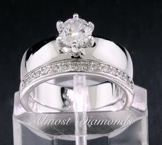 Platinum Overlay 1.5CT Wide Band Solitaire Wedding Ring Set