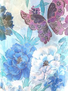 Hand Painted Silk Shawl, Silk Scarf Blue, Etsy ASAP, Chiffon, Blue Peonies and…