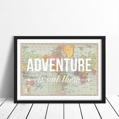 World Map Poster, Adventure is Out There, Map of World Print, Nursery Decor, Travel Quote, Wanderlust Poster, Map Art, Typography, Adventure...