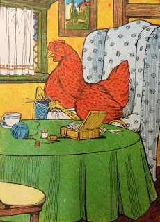 """Free Vintage Image - Little Red Hen (can't decide if this should go in """"knitting"""" or """"accidental farm""""! :)"""