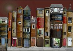 Old book covers crafted to look like a quaint village.  Looks like a craft knife for cutouts is needed.