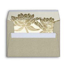 GLAMOROUS PALE GOLD WHITE LOTUS FLORAL  MONOGRAM ENVELOPE - formal speacial diy personalize style template