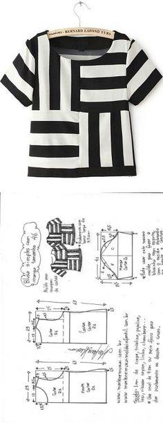 Blusa Listras simples com manga | DIY - molde, corte e costura - Marlene Mukai