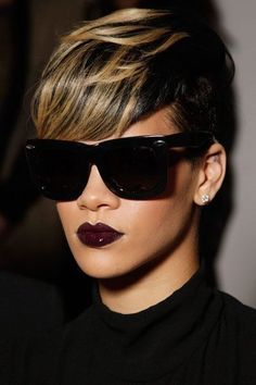 Rihanna with the dark lip. Brown ladies don't be afraid to try the blood red lip color #makemeupscotty