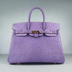 Hermes 35CM Ostrich Stripe Purple Gold