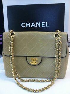 5b347a26e980 Chanel Quilted Beige Trim Flap Shoulder Bag Chanel Purse