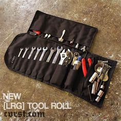"""""""The ALL NEW Large Tool Roll.  Completely redesigned to hold more than my last design.  BLACK or CAMO 1000 Cordura, OR waxed canvas.  Now with even more…"""""""