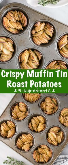 Easy sliced potato recipe that result in the tastiest crispy roast fingerling potatoes. The post Muffin Tin Crispy Roast Potatoes My Kitchen Love appeared first on Tasty Recipes. Roasted Potato Recipes, Easy Potato Recipes, Healthy Recipes, Side Dish Recipes, Vegetable Recipes, Cooking Recipes, Meal Recipes, Recipies, Quick Recipes