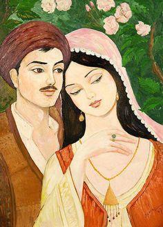 Kurdish art : portrait of the leading roles of the famous Kurdish literature story Mem u Zin