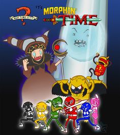 """Morphin' Time 32 Mashups That Prove """"Adventure Time"""" Makes Everything Way More Awesome Power Rangers In Space, Go Go Power Rangers, Adventure Time Crossover, Lego Custom Minifigures, Finn The Human, Mighty Morphin Power Rangers, Geek Out, Nerdy, Geek Stuff"""