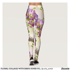 FLORAL COLLAGE WITH BIRDS SUPER YOGA DECORATIVE LEGGINGS