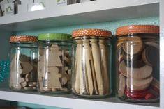 Craft Room Storage - Using Glass Jars with decoupaged lids peanut butter jars