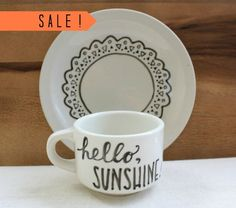 SALE  handpainted 'hello sunshine' cup  by theapothecarybee