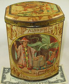 ALADDIN & THE WONDERFUL LAMP RARE BRITISH BISCUIT TIN c1895