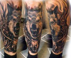 Wolf Leg Tattoo For Men photo - 2