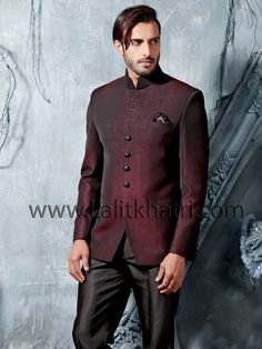 Alluring maroon color imported fabric jodhpuri jacket having high neck collar and glossy buttons. item Code: TSJ4242 www.lalitkhatri.com/label/men/mens-designer-suits.html