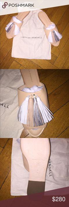 Loeffler Randall Tassel Shoe Never before worn slide in shoe. Gorgeous tassels on the front. Size 8. Comes with drawstring bag. Loeffler Randall Shoes Sandals