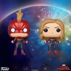 'Captain Marvel' Funko Pop Figures Are Live Pop Custom, Custom Funko Pop, Funko Pop Vinyl, Marvel Comics, Marvel Art, Funko Pop Toys, Funko Pop Figures, Brie Larson, Funko Pop Supernatural