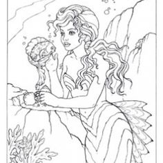 mermaid coloring pages felicia - Mermaid Coloring Pages Adults