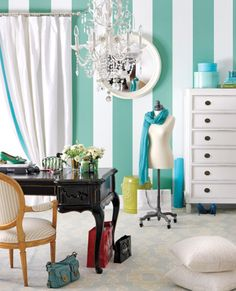 """Vertical stripes makes any room look larger and brighter!"" maybe I could do this to one wall with duck tape!!!! :D"