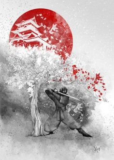 The warrior and the wind by Marine Loup - ninja warrior wind Illustration
