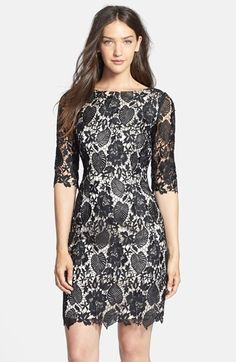 Free shipping and returns on Eliza J Lace Sheath Dress at Nordstrom.com. Embroidered lace veils a romantic boatneck sheath dress featuring airy sleeves and decorative edging.