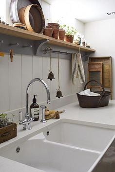 Luxury Kitchen love this modern rustic kitchen white sink open shelves - The key to creating the perfect contemporary country kitchen is to keep it simple - restrained colour palette, natural materials, individual touches, maybe a vintage find or two. Outdoor Kitchen Design, Interior Design Kitchen, Kitchen Designs, Outdoor Kitchen Sink, Kitchen Lighting, New Kitchen, Kitchen Decor, Kitchen White, Kitchen Ideas
