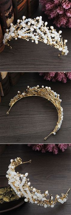 Gold Branches Flame Opal Crystal Hair Crown Wedding Jewelry Ideas