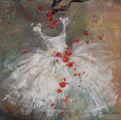 Rouge Original Tutu and Rose painting by Debi Coules - Debi Coules Romantic Art
