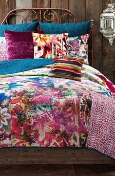 colorful pink patchwork quilt