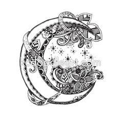 Página para adultos para colorear descargar instantánea - doodle de media luna