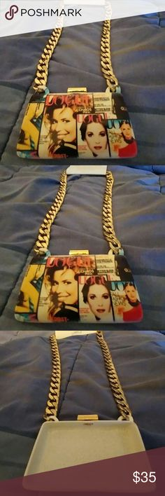 MAGAZINE MEDIA PRINT STATEMENT NECKLACE Glam Gorgeous!!  Bold Statement Piece.  Plenty of Attitude and Style!!  Brand New with Tags.  Thick Goldtone Link Chain with Purse styled Mixed Media Ceramic Medallion. Fresh Crystal Collection Jewelry Necklaces