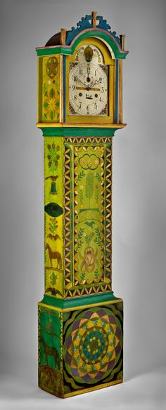 Tall-case clock, New England, ca. 1830. Decoration attributed to George Robert Lawton Sr. (1813–1885). Scituate, Providence County, R.I., ca. 1883