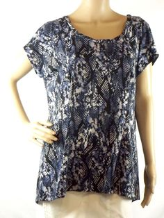 Miss Tina Women's Size L Tunic Top Multi Color Snake Print Short Sleeve  #MissTinabyTinaKnowles #KnitTop #Casual