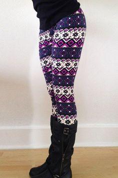 Chic Color Block Geometrical Print Skinny Leggings For Women