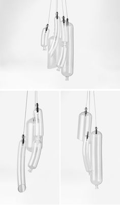 French designer Sam Baron has created a collection of unique suspension lights for Petite Friture, that are named 'SO-sage'. #Lighting #GlassLighting #ModernLighting