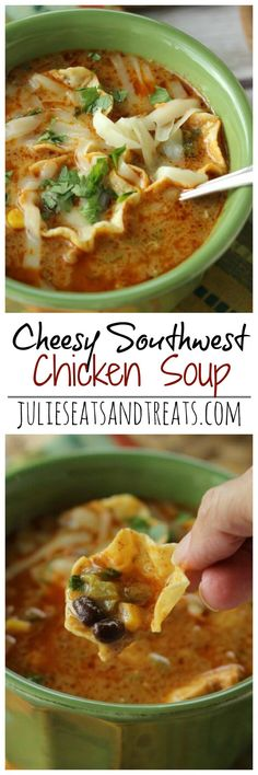 Cheesy Southwest Chicken Soup Recipe – Comforting soup filled with onions, peppers, black beans, corn, and finished off with a little cream to give it that extra little something! on