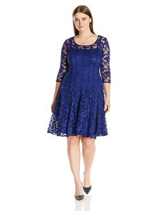 a090d1c3c884e Chetta B Womens PlusSize 3 4 Sleeve Lace Fit and Flare Dress Plus Navy 16W