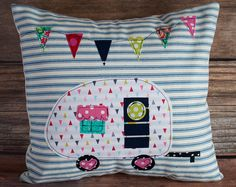 Glamping by FrecklesDesignStudio - . Glamping by FrecklesDesignStudio – Retro Campers, Happy Campers, Vintage Campers, Craft Projects, Sewing Projects, Camping Pillows, Camping Quilts, Baby Mobile, Ticking Stripe