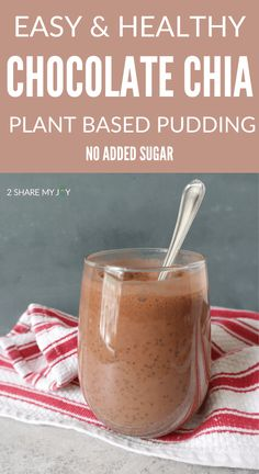 Easy and healthy chocolate chia pudding. Plant based vegan dessert recipe with no sugar added. Healthy sweet treat filled with omega 3, vitamins, minerals, and high in plant based protein (14 g). High Protein Vegan Recipes, Healthy Vegan Desserts, Healthy Sweet Treats, Healthy Dessert Recipes, Gluten Free Desserts, Snack Recipes, Vegan Protein, Chocolate Chia Pudding, Healthy Chocolate
