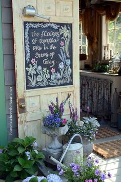 Metaphor for Life & Chalkboard Inspiration Garden shed door window turned chalkboard of inspiration!Garden shed door window turned chalkboard of inspiration! Garden Shop, Garden Cottage, Dream Garden, Garden Art, Farmhouse Garden, Farmhouse Sheds, Cedar Hill Farmhouse, Big Garden, Garden Theme