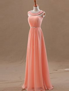 Lovely New Style 2015 Coral A-line Floor Length Prom Dress with Round Line, Prom Dresses 2015, Evening Dresses, Handmade Formal Dress