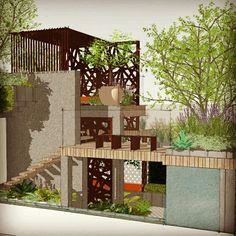 Kate Gould Gardens RHS Chelsea 2017 show garden 'Urban Living' featuring Loknan Bamboo decking and cladding