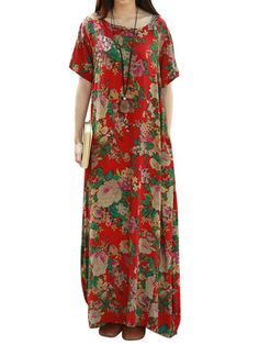 Vintage Women Floral Printed Short Sleeve Long Maxi Dresses Shopping Online - NewChic Mobile.