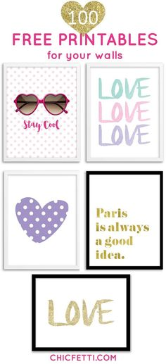 Printable Wall Art – Print wall decor and poster prints for your home 100 free printables for your walls from Chicfetti Printable Images, Free Printable Art, Free Printables For Home, Printable Quotes, Design Studio Names, Diy Image, Wall Art Prints, Poster Prints, Ideias Diy
